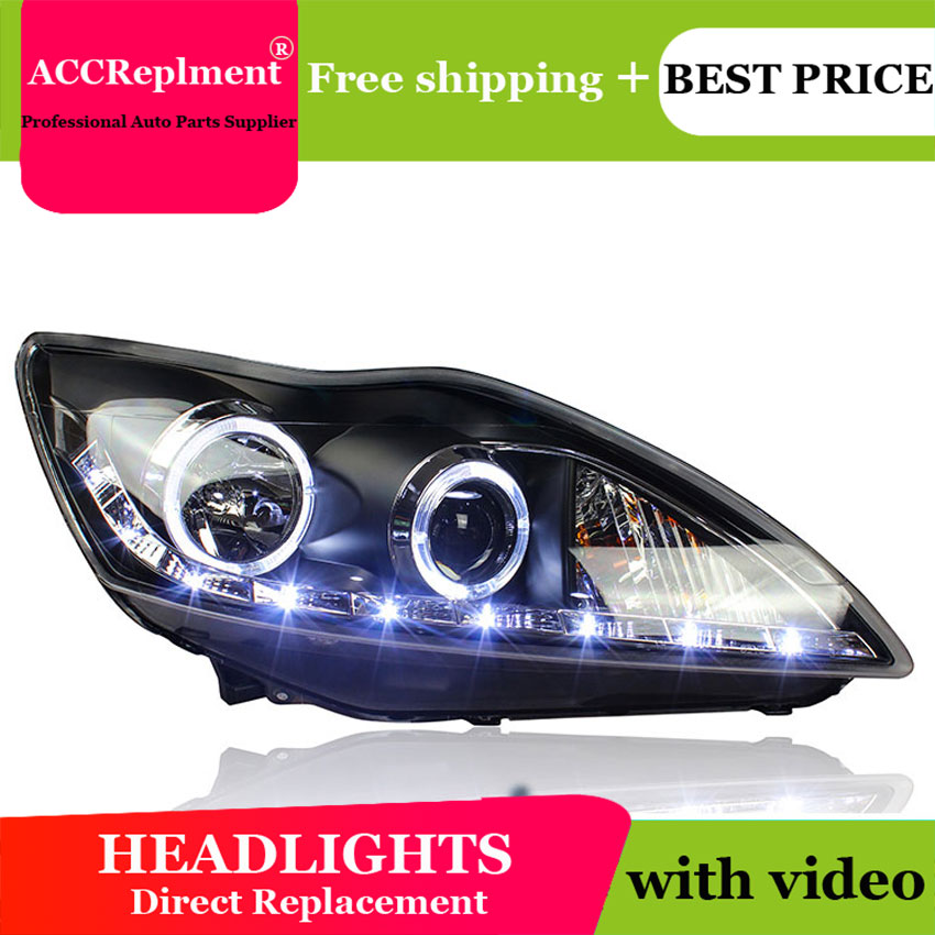 car styling For Ford Focus headlights U angel eyes 2009 2011 For Ford Focus LED light