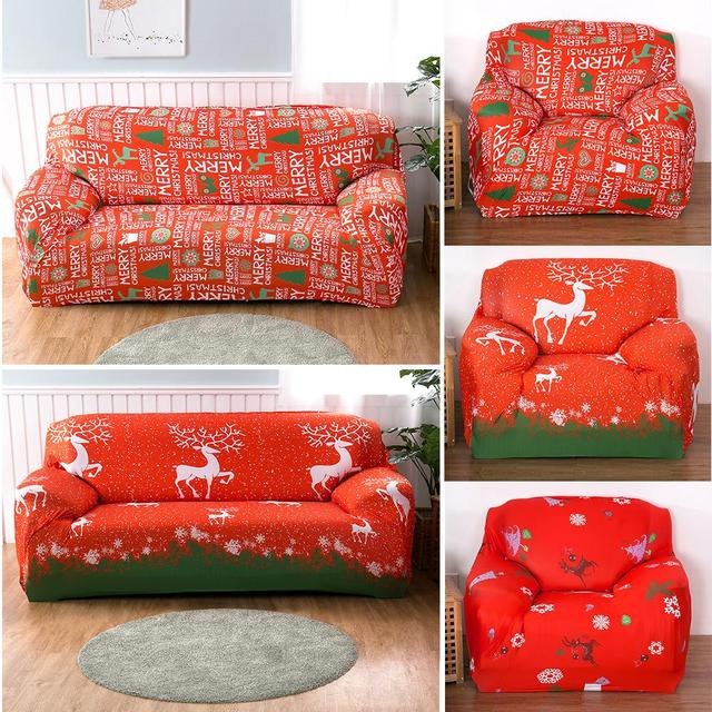 Merry Christmas Elk Stretch Slipcovers Sectional Sofa Covers For 1