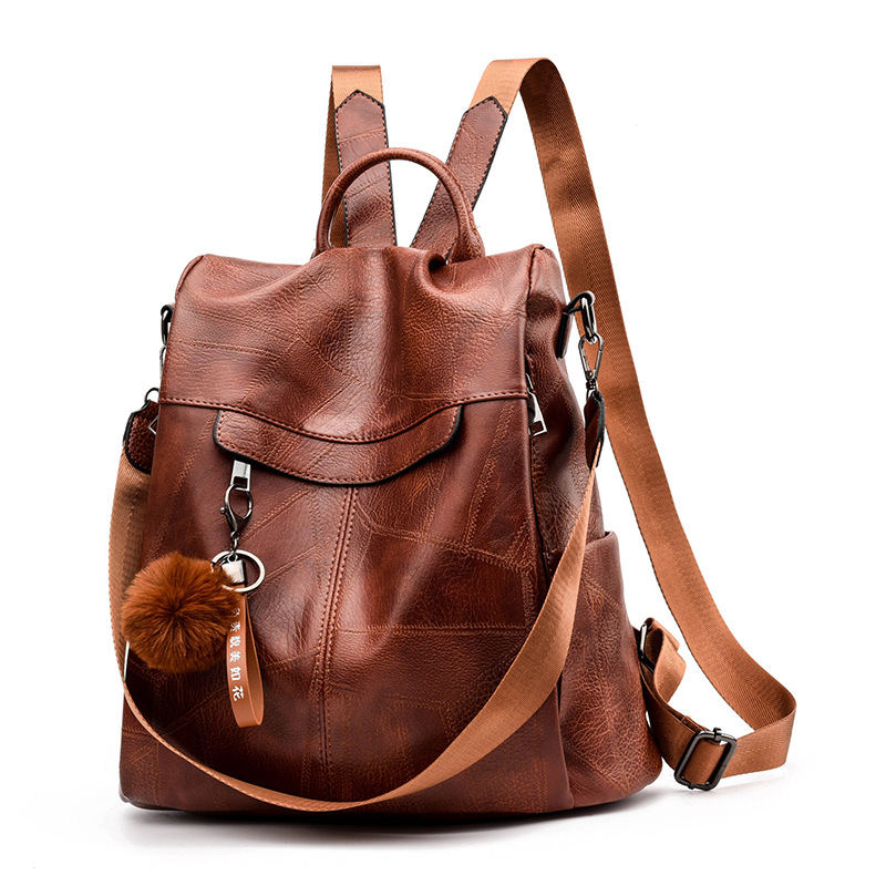 Vintage Female Leather Women's Back Pack Soft PU Women Leather Backpacks Schoolbags Travel Shoulder Bag