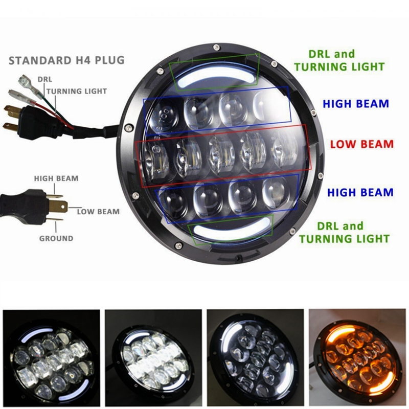 7 105W LED Motorcycle Headlight Projector For Harley Heritage Softail FLSTC 7 motorcycle headlight lenses for harley touring softail fat boy the headlight lenses headlight glass