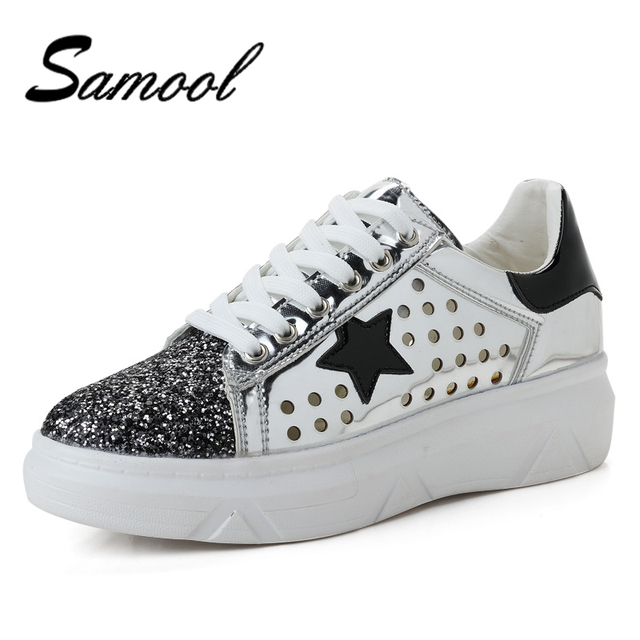98b56bb30b 2018 Women Casual Shoes Glitter Leather Do Old Dirty Shoes Mixed Color Women  Sequins Star Golden Fleeces trainers mx5