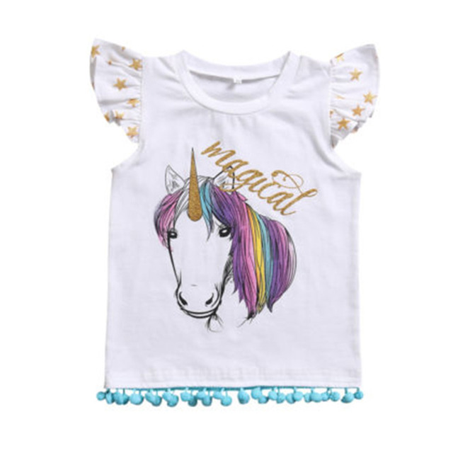 5266faf90 US $4.99 | T shirts Child Shirt Unicorn Girl Cartoon Toddler Girls Clothes  Kids Unicorn T shirt Unicorn For Children-in Tees from Mother & Kids on ...