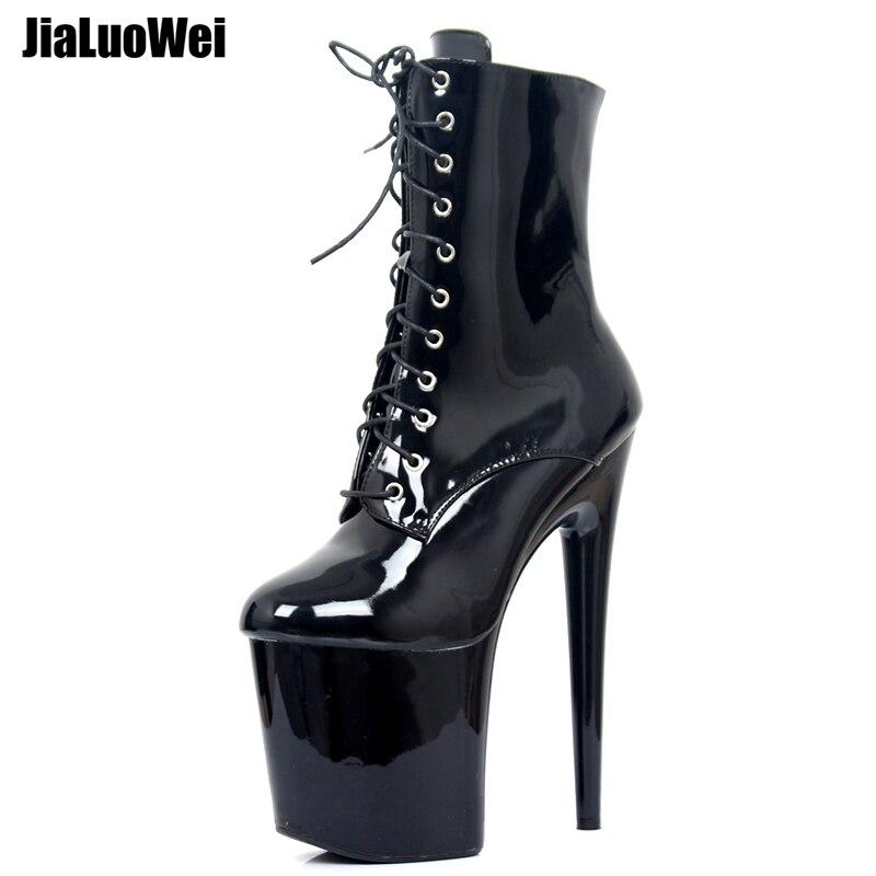 Jialuowei 20 см экстремально Высокие каблуки ботинки на платформе кружево до Pole dancing сапоги и ботинки для девочек ботильоны молния сбоку черны