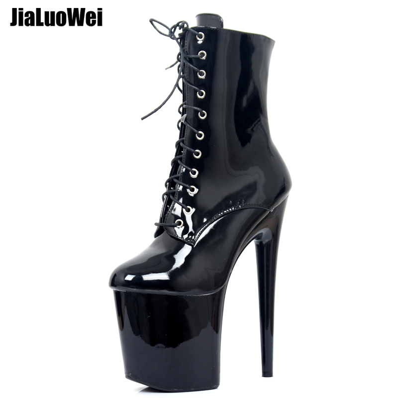 цена jialuowei 20CM Extreme High Heels Platform Boots Lace Up Pole Dancing Ankle Boots Side Zip Black Plus Size