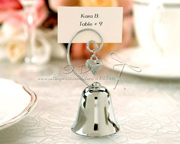 Free Shipping Charming Silver Bell Place Card Holders Wedding Decoration Centerpieces (set of 4)