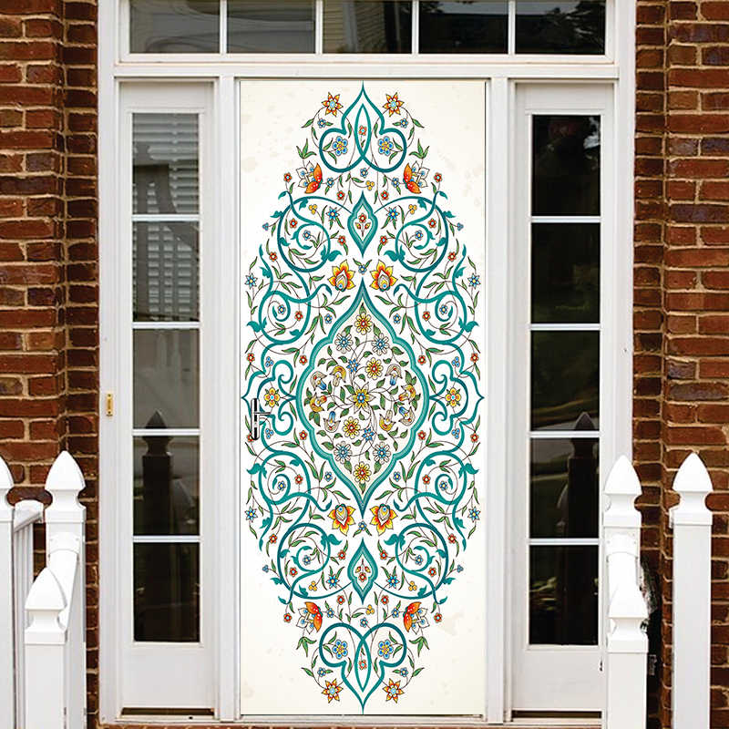 3D New Arrival Blue Flower Islamic patterns door Pvc Poster decal sticker Allah self-adhesive wallpaper Bedroom Home Decor