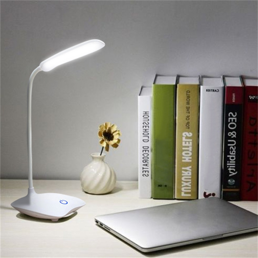 14 LED USB Rechargeable Dimmable Table Desk Touch Switch Top Bedside Lamp Light