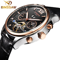 BINSSAW Men Fashion Automatic Mechanical Watches Mens Tourbillon Leather Date Top Luxury Brand Sports Watches Relogio Masculino