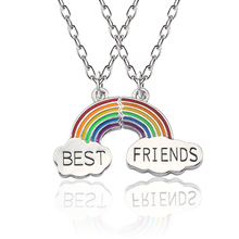 New Fashion 2 Pieces / Set Of Rainbow Pendant Necklace Stitching Best Friend Style BFF Silver Chain Good Friends Gift