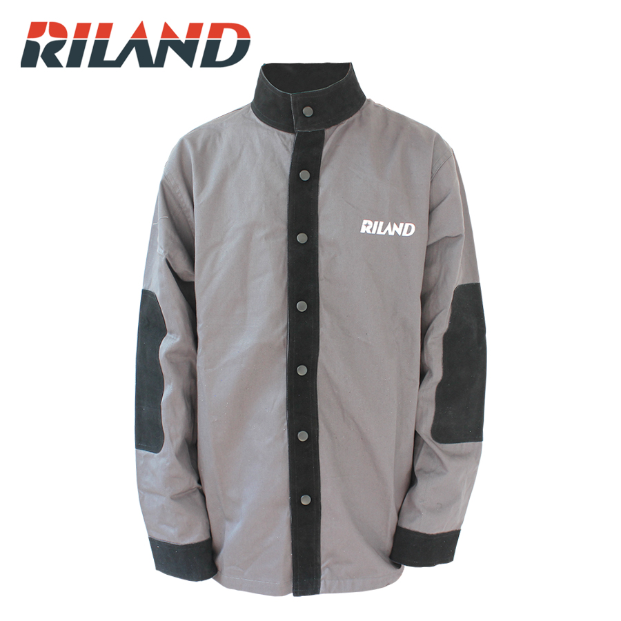 RILAND Durable Leather Welding Coat Protective Clothing Apparel Suit Welder Workplace Safety Clothing leather welding long coat apron protective clothing apparel suit welder workplace safety clothing