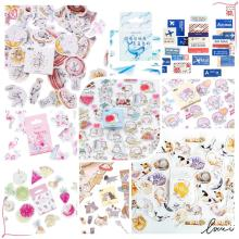45pcs/pack New Cute Stickers Animals Sticky Paper Kawaii Cat Food Decoration Diary Scrapbooking School Supplies