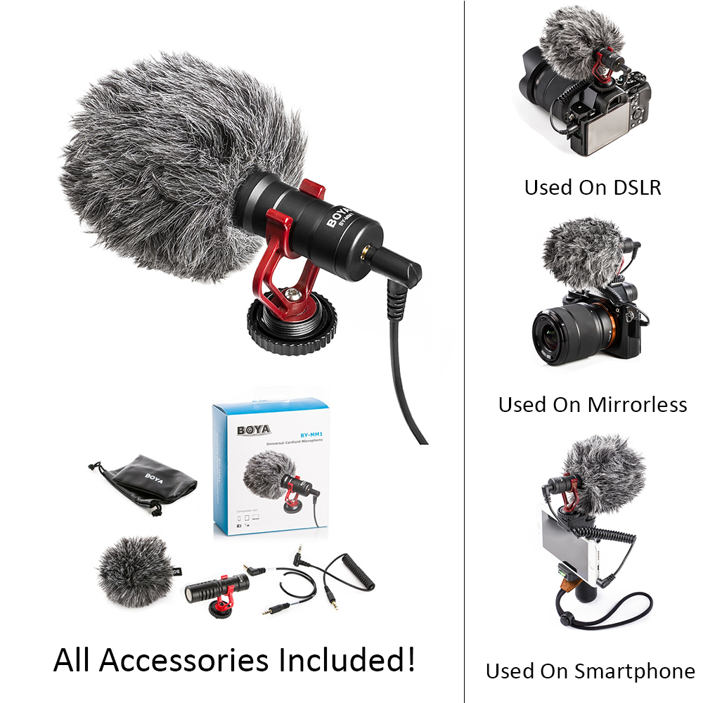 BOYA BY-MM1 DSLR MIC Video camera Microphone Youtube Blogging Recording Mic for Canon Nikon Sony iPhone HuaWei Smartphone Osmo