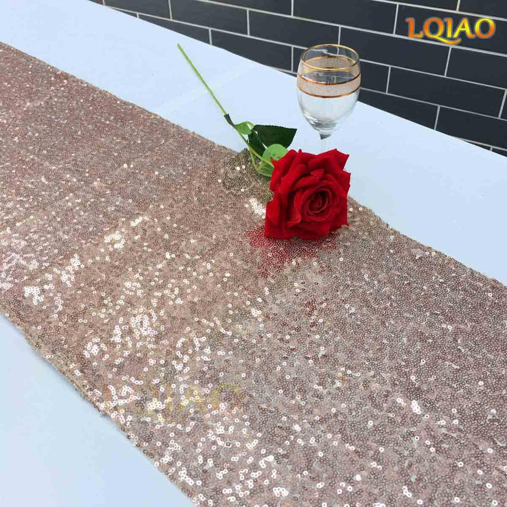 20pcs wholesale 12x120inch Champagen Gold Sequin table runner
