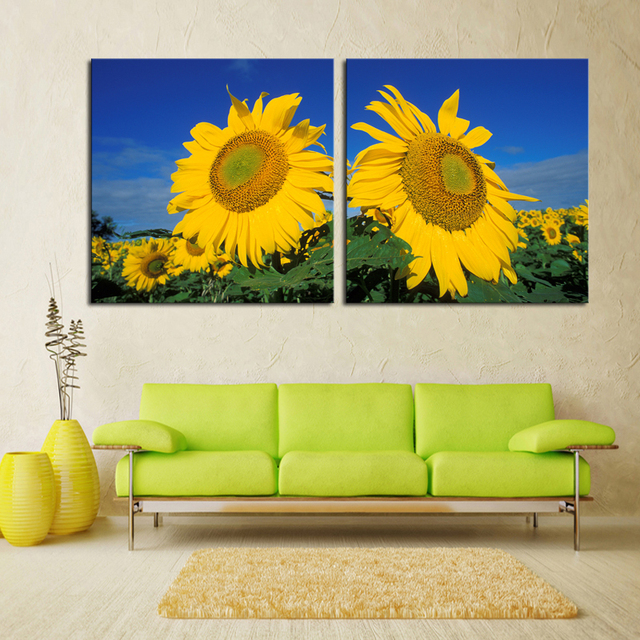 Cuadros Oil Painting Free Shipping 2 Piece Big Sunflower Modern Home ...