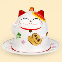 ceramic maneki neko coffee mug home decor crafts room decoration ceramic ornament porcelain figurines mug animal figurines cat