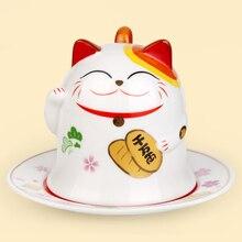 ceramic maneki neko mug home decor crafts room decoration ornaments porcelain figurines cup animal cat