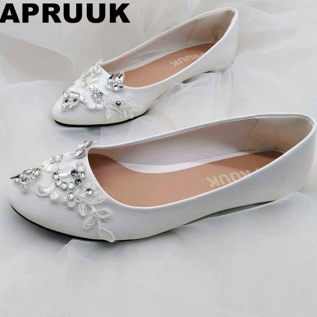 afb581946298 Lace wedding shoes bride white lace shiny bling silver crystal rhinestones  flat heel bridal shoes woman