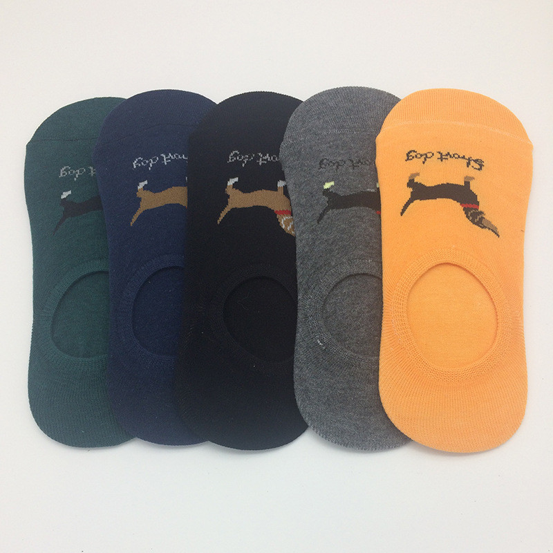 5 Pairs/Lot Korean New Cute Women Unisex Dachshund Low Cut Socks Funny Female Pet Dog Animals Non-Slip Invisible Sock Men Socks