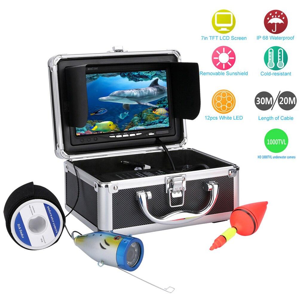 20M 30M 1000tvl Underwater Fishing Video Camera Kit 12 LED Lights 7 Inch HD Fish Finder Video Recorder DVR free shipping eyoyo 30m 7 inch 1000tvl monitor underwater video camera fish finder dvr 4gb stainless