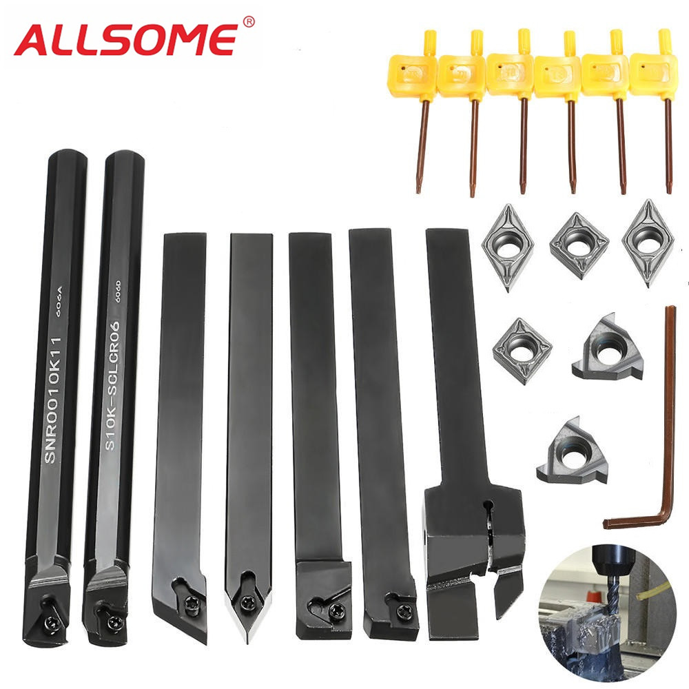 ALLSOME 7pcs 10mm Shank Lathe Turning Tool Holder Boring Bar with Carbide Inserts MGEHR1010-2/SER1010H11/SCLCR1010H06 7pcs good precision lathe turning tool holder boring bar 10mm shank 7pcs carbide pvd inserts set for machining steel mayitr