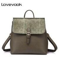 LOVEVOOK Brand Fashion Women Multifuctional Backpack Female Handbag Serpentine Print Ladies Shoulder Bag