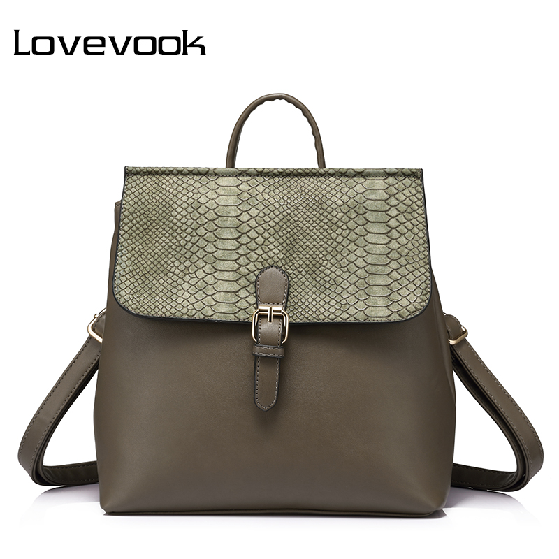 LOVEVOOK brand fashion women backpack high quality female bag with serpentine prints ladies shoulder bags 2017 schoolbag girl fashion high quality women backpack high quality artificial leather school bags female serpentine prints drawstring backpacks