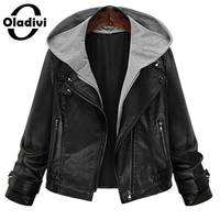 Oladivi 2016 Women Slim Short Design Motorcycle Leather Jackets Spring Autumn And Winter PU Coat Tops