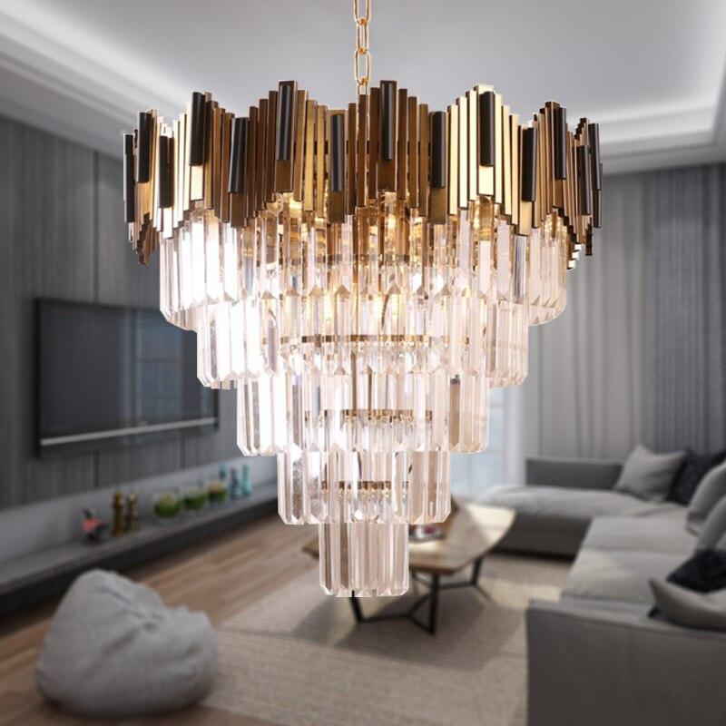 Luxury Modern Gold Crystal Chandelier Multi Layer Large Lampe En