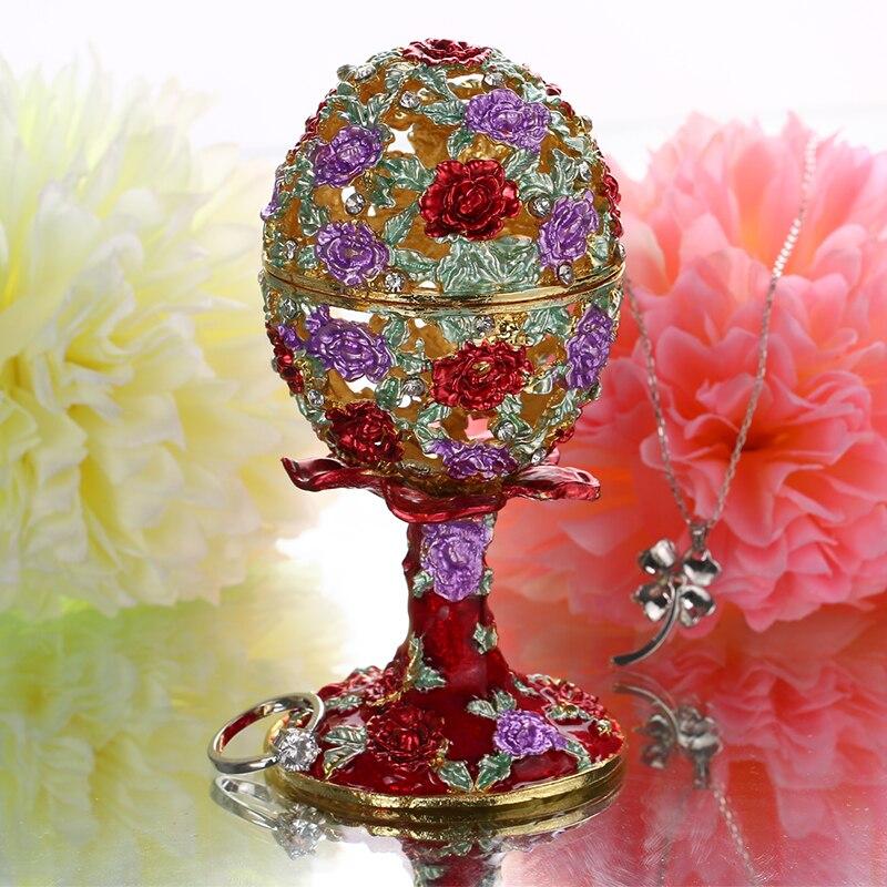 Image 2 - Шкатулка для ювелирных изделий H & D 4,3 дюйма, ручная работа, русская коробка для яиц, откидной держатель для кольца, коллекционные украшения, статуэтка для хранения, подарок на Пасхуbox forbox boxbox for wedding gift -