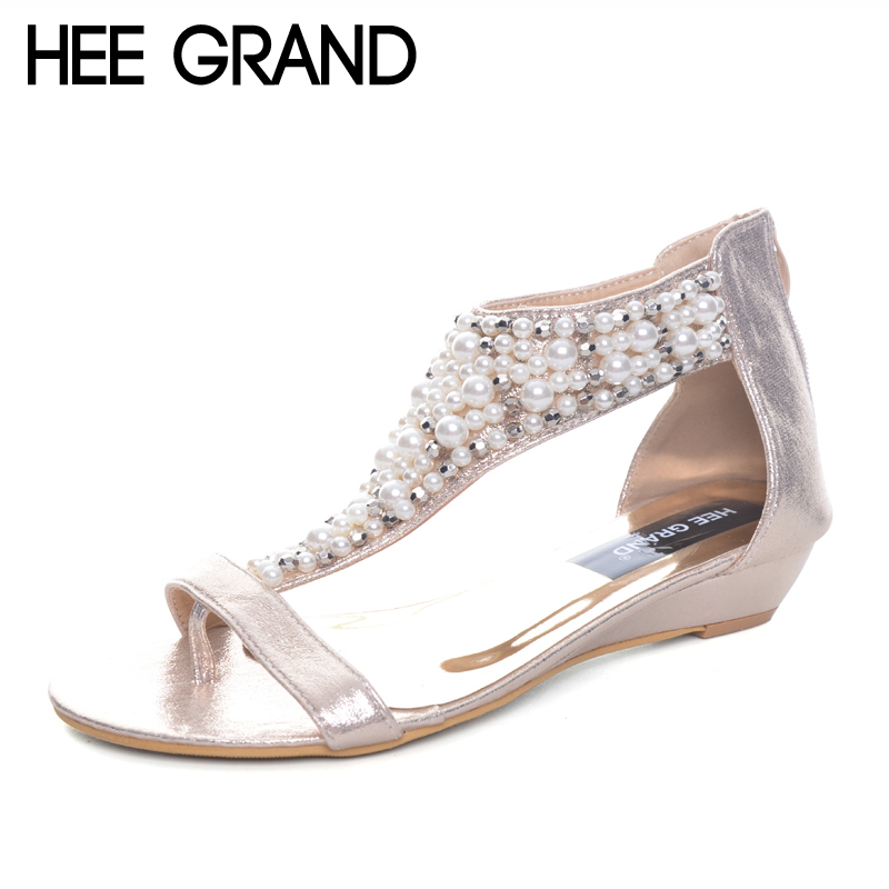 HEE GRAND Gladiator Sandals Summer Style Flip Flops Elegant Platform Shoes Woman Pearl Wedges Sandals Casual Women Shoes XWZ1937 hee grand summer flip flops gladiator sandals slip on wedges platform shoes woman gold silver casual flats women shoes xwz2907
