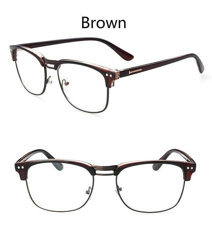 8c604977ea48 Fashion Metal Half Frame Glasses Frame Retro Woman Men Reading Glass UV  Protection Clear Lens Computer Eyewear Eyeglass-in Eyewear Frames from  Apparel ...