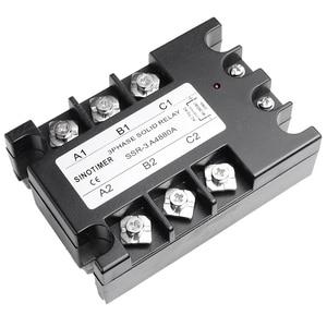 Image 2 - 3 المرحلة تتابع 60A 80A 100A SSR 90 280 فولت AC 20mA AC إلى AC تتابع الحالة الصلبة ثلاثة المرحلة Rele مع غطاء