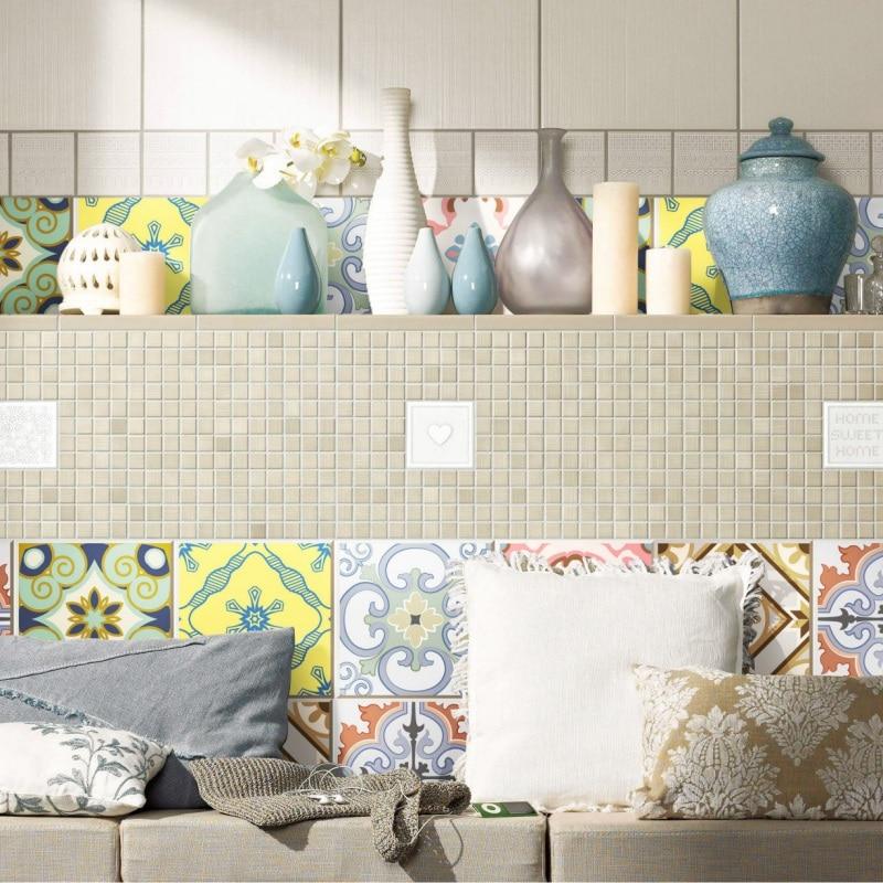 20pcs 20x20cm DIY Mosaic Wall Tiles Stickers Waist Line Wall Sticker Kitchen Adhesive Bathroom Toilet Waterproof PVC Wallpaper