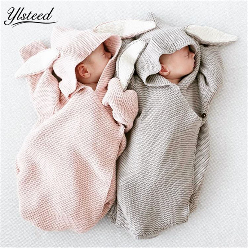 Knitted Baby Blanket Newborn Envelope Cute Rabbit Ear Baby Swaddle Blanket Newborn Bunny Swaddle Wrap Infant Photography Props removable liner baby infant swaddle blanket 100
