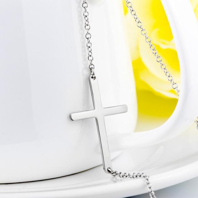 Genuine 925 Sterling Silver Sideways Cross Pendant Necklace For Women