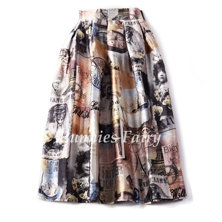 Vintage Retro Lady Newspaper Print High Waist Pleated Flare Midi Skirt 19