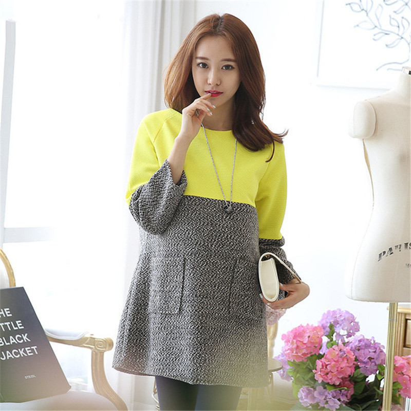 Maternity Long-sleeved Dresses Autumn Winter Loose Pocket Stitching Woolen Coat Tops Fashion Elegant Pregnancy Clothes For Women fashion cotton padded maternity shirts autumn winter fashion thick knitted long sleeve pregnancy tops loose maternity clothes