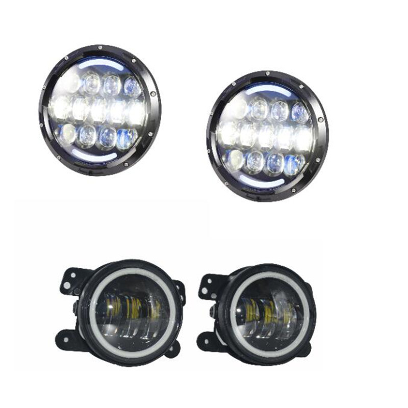 7 inch led projector headlight LED 12V Waterproof and 4'' inch 30W LED Spot Fog lamps Auxiliary light DRL for Jeep Wrangler JK