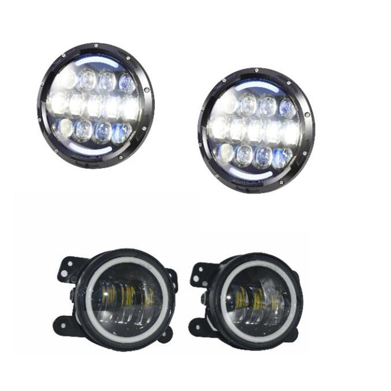 7-дюймовый светодиодный проектор фары водить 12V Водонепроницаемый и 4 дюймов СИД 30W туман пятно лампы вспомогательного света DRL для Jeep Вранглер JK
