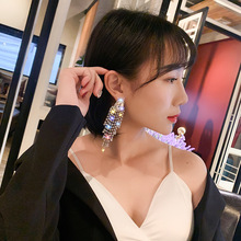 Tassel  drill crystal luxury Fashion Women Earrings Marquise Cut Teardrop Wedding Earring