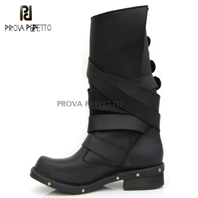 Prova Perfetto Vintage Style Winter Knight Boots Comfortable Genuine Leather Women Retro Low Heel Boots Buckle Strap Boots Solid prova perfetto autumn winter new genuine leather low heel women mid calf boots round toe thick bottom comfortable martin boots