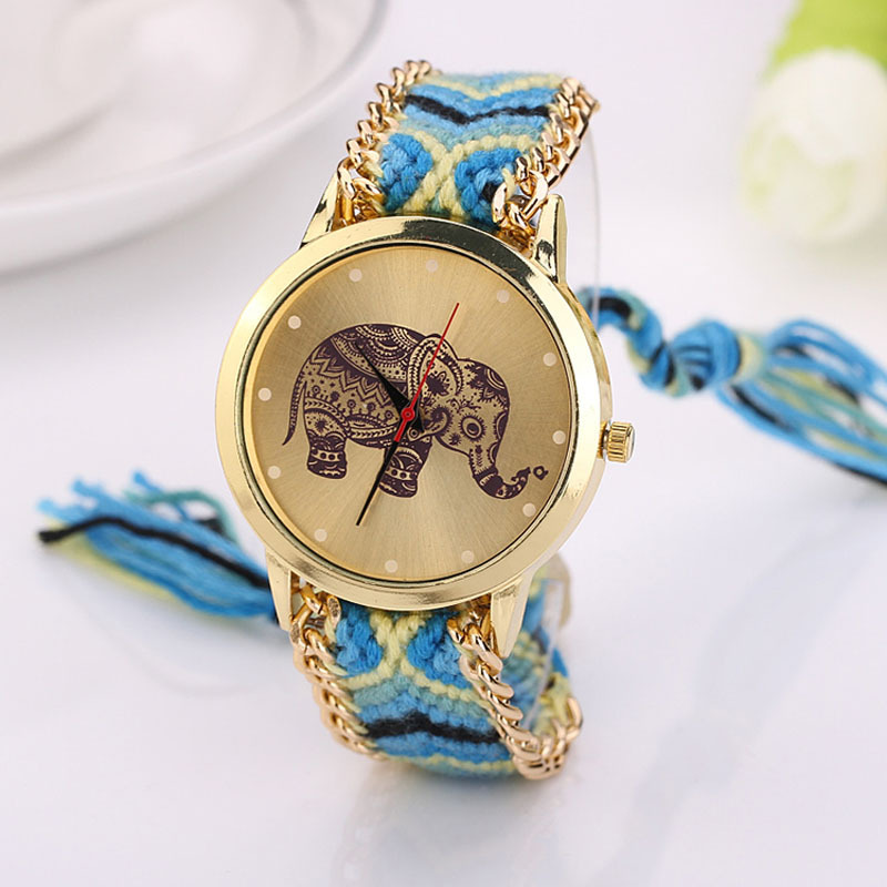 2017 New Women Watches Quartz-watch Elephant Rope Bracelet Casual Dress Watch Clock Quartz Dial Wristwatch Relojes Mujer elephant rhinestone quartz bracelet wristband watch
