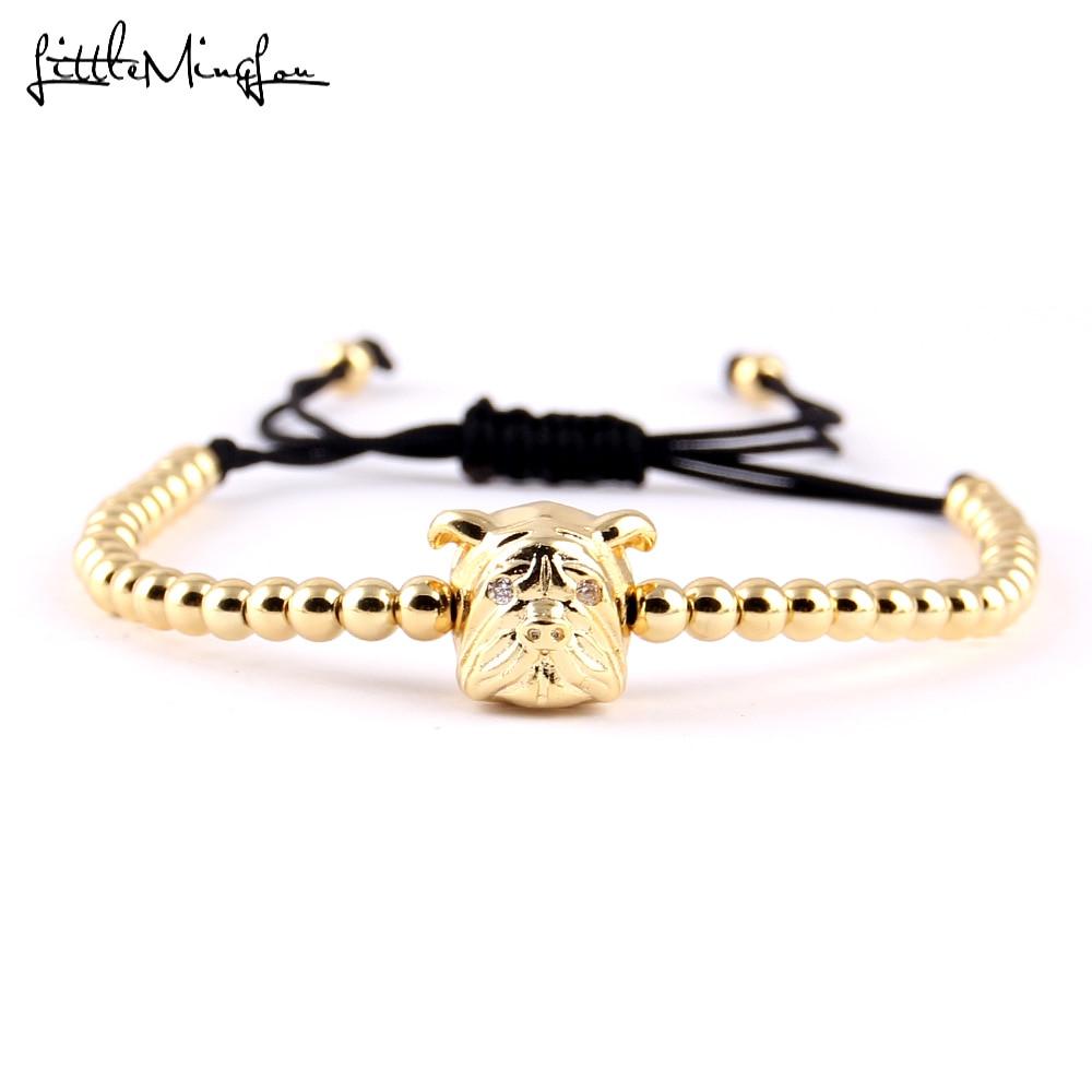 Little Minglou New Trendy Men Bead Bracelet Micro Pave Cz Bulldog Charm Copper Braided Bracelets & Bangles For Women Jewelry