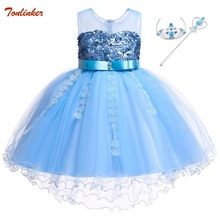New Lace Sequins Formal Evening Wedding Ball Gown Tutu Princess Dress Flower Girls Children Clothing Kids Party For Girl Clothes цена в Москве и Питере