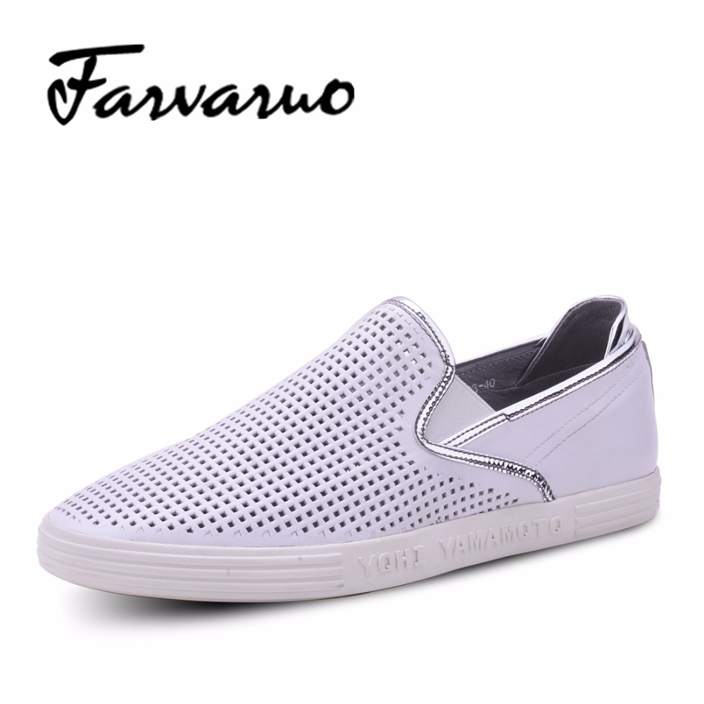 Farvarwo Mens Casual Shoes Brand New Cowhide Leather Mesh Breathable Loafers for Men Soft 2017 Hot Sale Summer Flats White Shoes 2016 new style summer casual men shoes top brand fashion breathable flats nice leather soft shoes for men hot selling driving