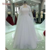 Vestidos דה Formature V צוואר Appliqued תחרה מקיר לקיר לנשף שמלות עם קייפ הכלה שמלת הערב רשמית