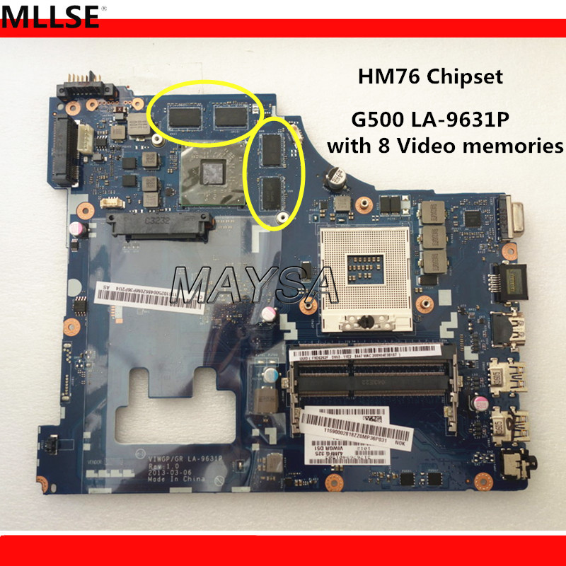 Hot IN RUSSIAN ! LA-9631P For Lenovo G500 laptop motherboard with 8 video memories, HM76 chipset