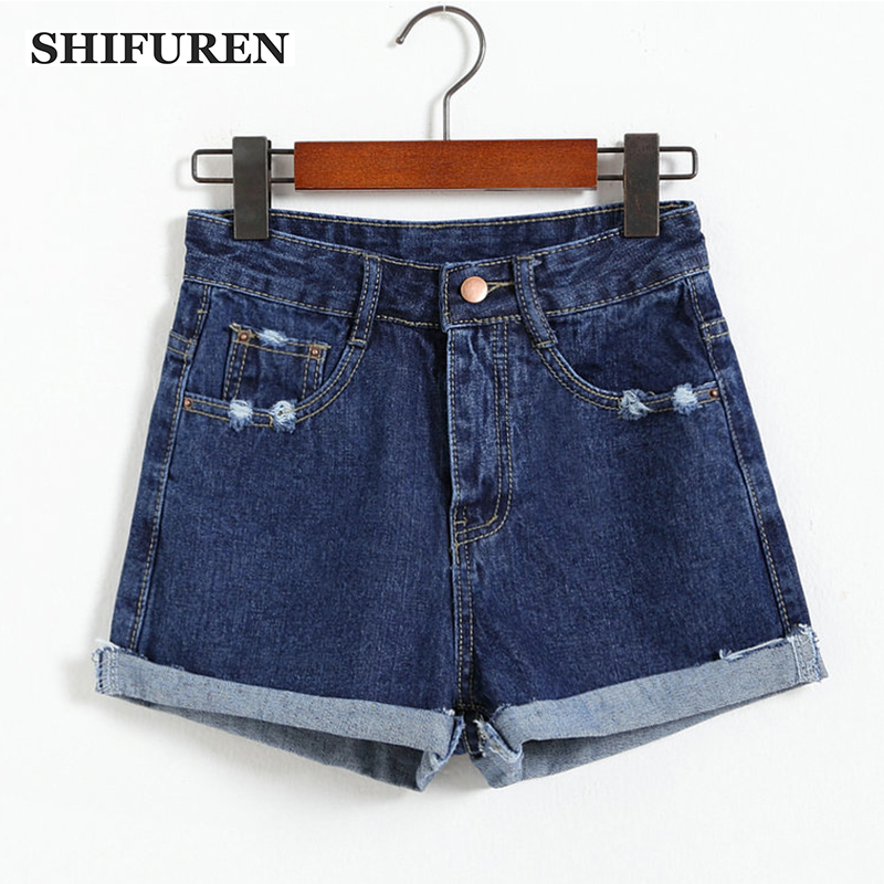 SHIFUREN 2017 New Fashion Summer Women Denim Shorts Roll Up Loose Fit Hot Sexy Ripped Jeans Shorts Trousers High Waist Size S-L