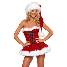 new Gift Velvet Fur Christmas Dress high quality Nightclub stage Lingerie uniform performance temptation Sexy Xmas Costume Women