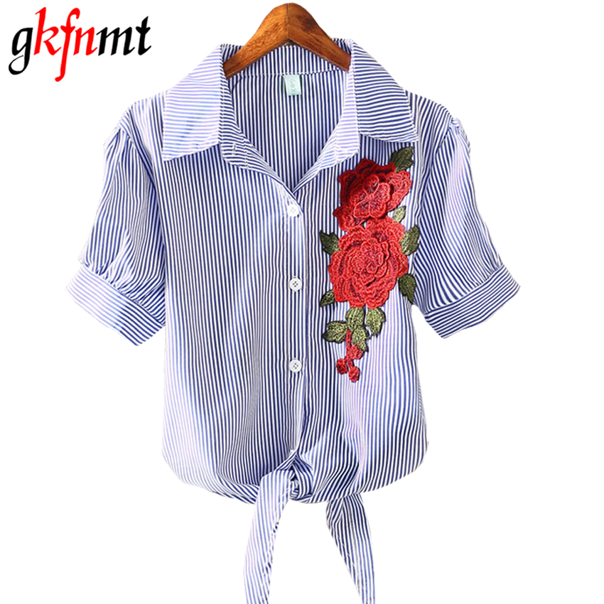 gkfnmt embroidered Appliques Blusa Pinstripe Knot Hem Blouse 2018 Women Lapel White Striped Shirt Women Tops Buttons Front Blous
